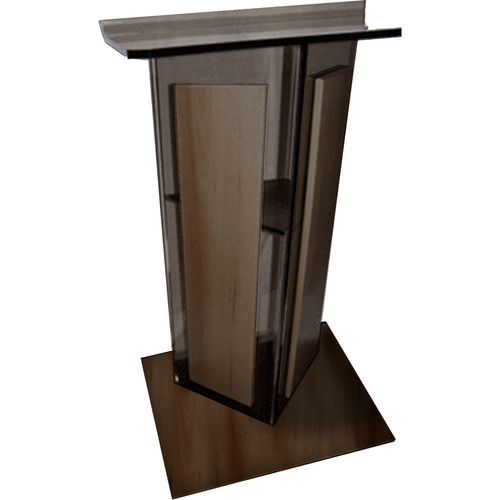 "AmpliVox Sound Systems Smoked Acrylic V-Design Lectern with Walnut Wood Panels & Base (27"" Width)"