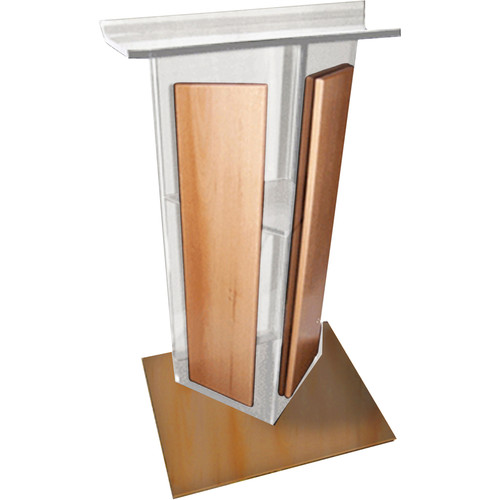 "AmpliVox Sound Systems Clear ""V"" Style Acrylic and Wood Panels Floor Lectern with Wood Base and Shelf (Medium Oak)"