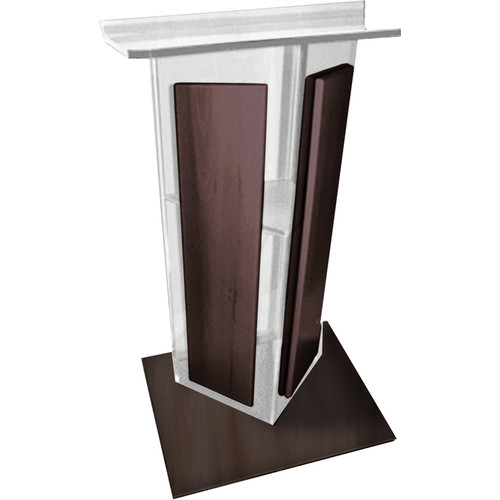 "AmpliVox Sound Systems Clear ""V"" Style Acrylic and Wood Panels Floor Lectern with Wood Base and Shelf (Walnut)"