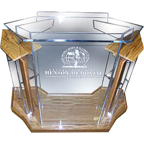 "AmpliVox Sound Systems Deluxe Clear Acrylic Floor Lectern with Oak Wood Accent (42"" Width)"