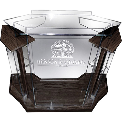 """AmpliVox Sound Systems Deluxe Clear Acrylic Floor Lectern with Walnut Wood Accent (42"""" Width)"""