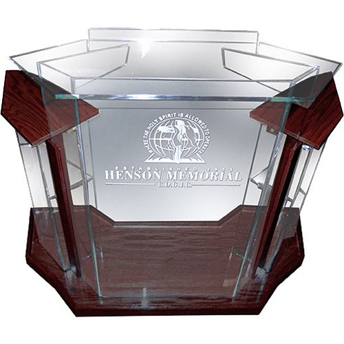 "AmpliVox Sound Systems Deluxe Frosted Acrylic Floor Lectern with Mahogany Wood Accent (42"" Width)"