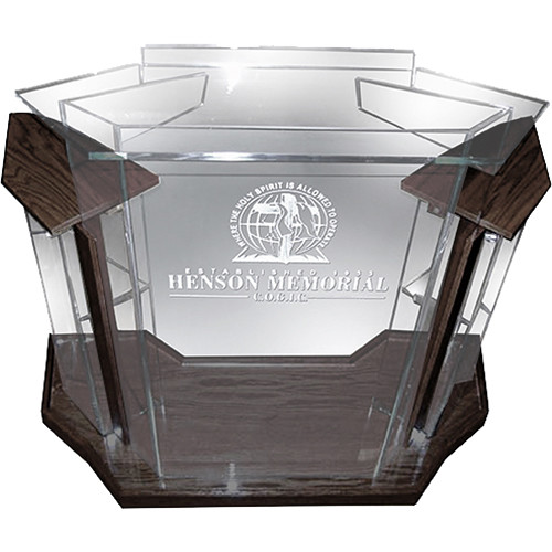 "AmpliVox Sound Systems Deluxe Frosted Acrylic Floor Lectern with Walnut Wood Accent (42"" Width)"