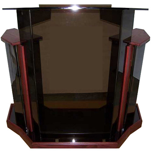 "AmpliVox Sound Systems Deluxe Smoked Acrylic Floor Lectern with Mahogany Wood Accent (42"" Width)"