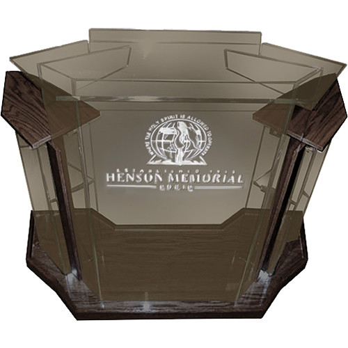 "AmpliVox Sound Systems Deluxe Smoked Acrylic Floor Lectern with Walnut Wood Accent (42"" Width)"