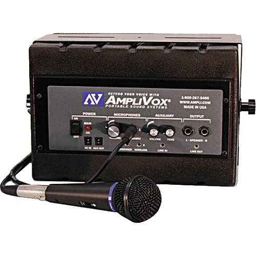 AmpliVox Sound Systems SS1230 Mity Box 50-Watt Powered Speaker with Wired Microphone