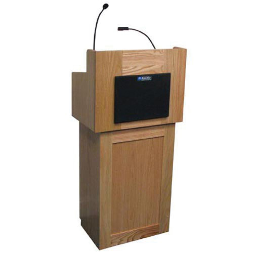 AmpliVox Sound Systems Oxford Two-Piece Lectern with Sound System (Natural Oak)