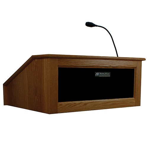 AmpliVox Sound Systems Victoria Tabletop Lectern with Sound System (Walnut)