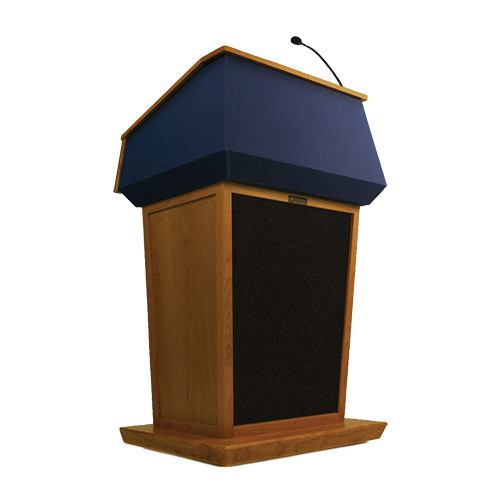 AmpliVox Sound Systems Patriot Lectern With Sound System (Natural Cherry with Blue Canvas Accent)