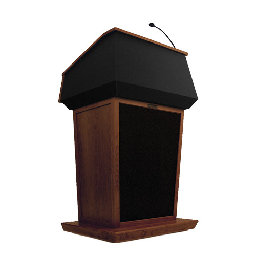 AmpliVox Sound Systems Patriot Lectern With Sound System (Mahogany with Black Canvas Accent)