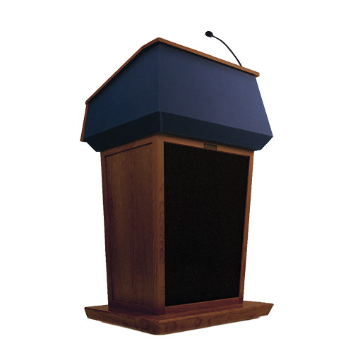 AmpliVox Sound Systems Patriot Lectern With Sound System (Mahogany with Blue Canvas Accent)
