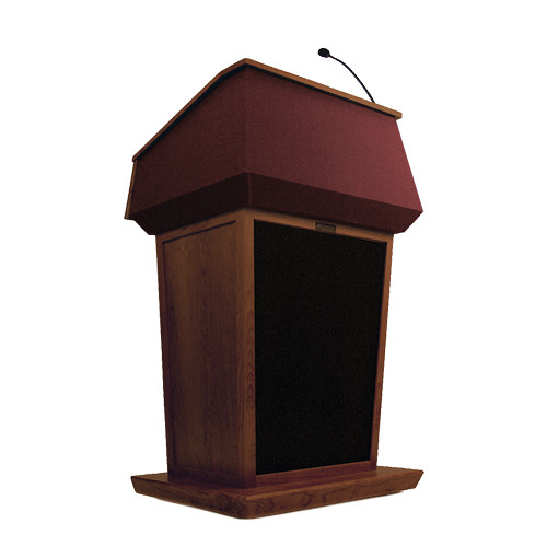 AmpliVox Sound Systems Patriot Lectern With Sound System (Mahogany with Red Canvas Accent)