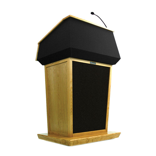 AmpliVox Sound Systems Patriot Lectern With Sound System (Maple with Black Canvas Accent)
