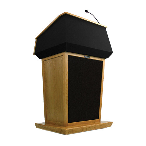 AmpliVox Sound Systems Patriot Lectern With Sound System (Natural Oak with Black Canvas Accent)