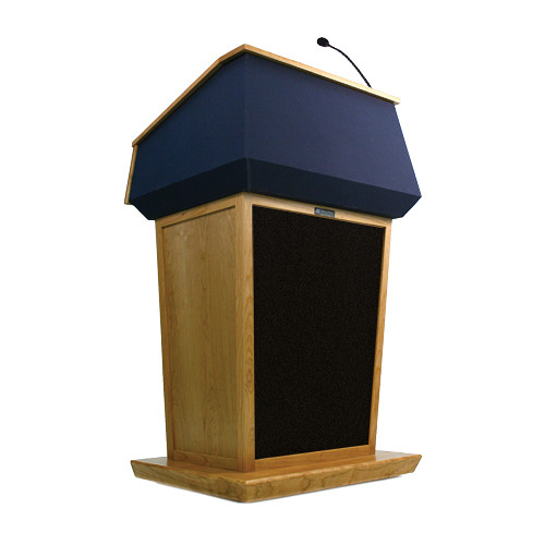 AmpliVox Sound Systems Patriot Lectern With Sound System (Natural Oak with Blue Canvas Accent)