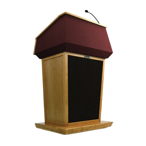 AmpliVox Sound Systems Patriot Lectern With Sound System (Natural Oak with Red Canvas Accent)