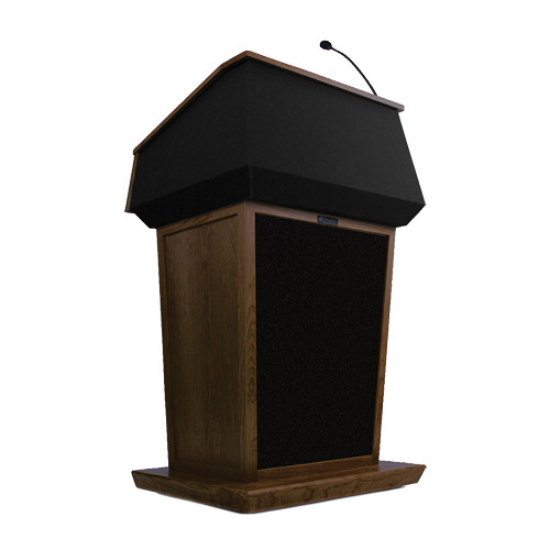 AmpliVox Sound Systems Patriot Lectern With Sound System (Walnut with Black Canvas Accent)
