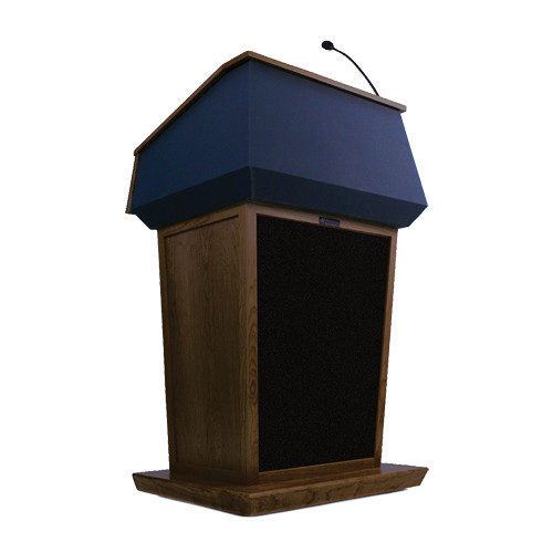 AmpliVox Sound Systems Patriot Lectern With Sound System (Walnut with Blue Canvas Accent)