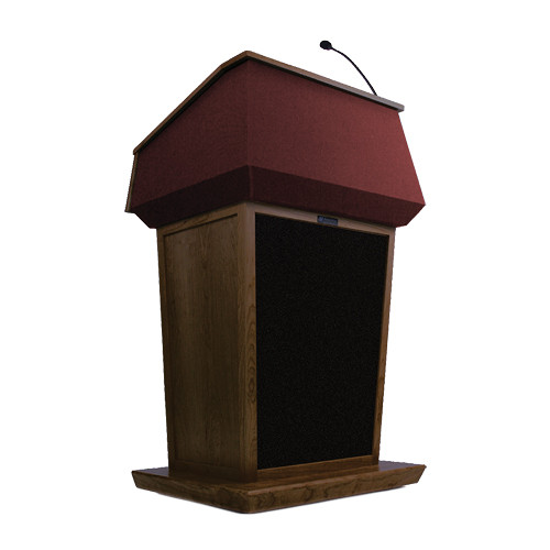 AmpliVox Sound Systems Patriot Lectern With Sound System (Walnut with Red Canvas Accent)