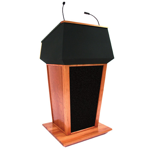 AmpliVox Sound Systems Patriot Plus Lectern with Sound System (Natural Cherry with Black Canvas Accent)