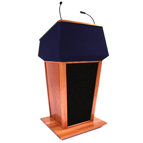 AmpliVox Sound Systems Patriot Plus Lectern with Sound System (Natural Cherry with Blue Canvas Accent)