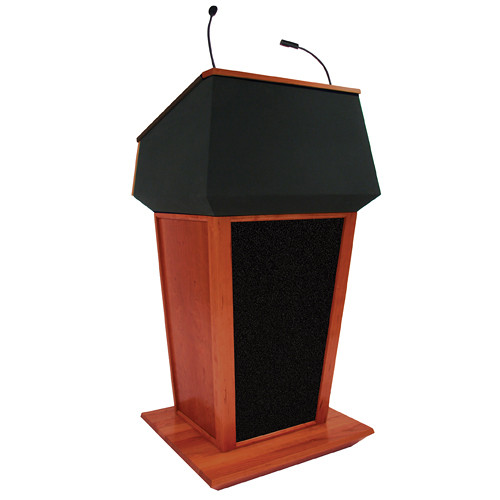AmpliVox Sound Systems Patriot Plus Lectern with Sound System (Mahogany with Black Canvas Accent)
