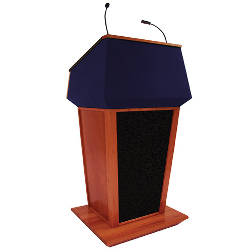 AmpliVox Sound Systems Patriot Plus Lectern with Sound System (Mahogany with Blue Canvas Accent)