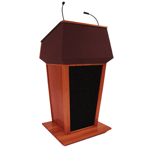 AmpliVox Sound Systems Patriot Plus Lectern with Sound System (Mahogany with Red Canvas Accent)