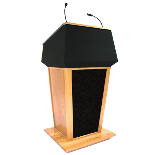 AmpliVox Sound Systems Patriot Plus Lectern with Sound System (Maple with Black Canvas Accent)