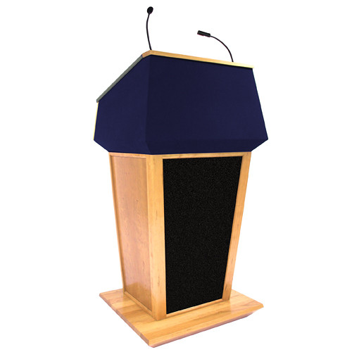 AmpliVox Sound Systems Patriot Plus Lectern with Sound System (Maple with Blue Canvas Accent)