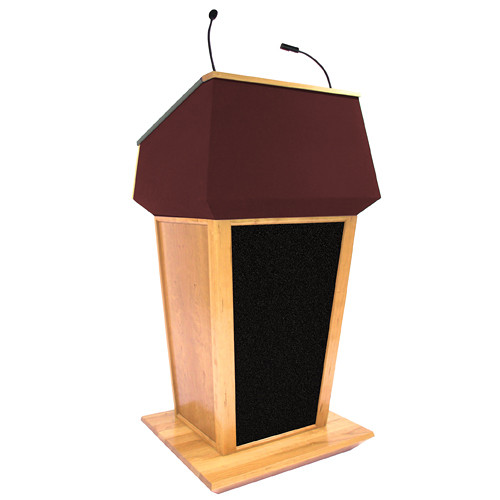 AmpliVox Sound Systems Patriot Plus Lectern with Sound System (Maple with Red Canvas Accent)