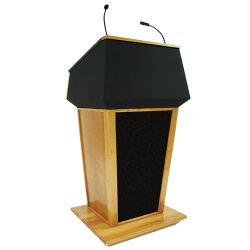 AmpliVox Sound Systems Patriot Plus Lectern with Sound System (Natural Oak with Black Canvas Accent)