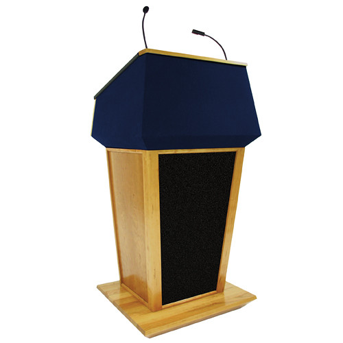 AmpliVox Sound Systems Patriot Plus Lectern with Sound System (Natural Oak with Blue Canvas Accent)