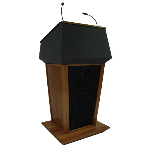 AmpliVox Sound Systems Patriot Plus Lectern with Sound System (Walnut with Black Canvas Accent)