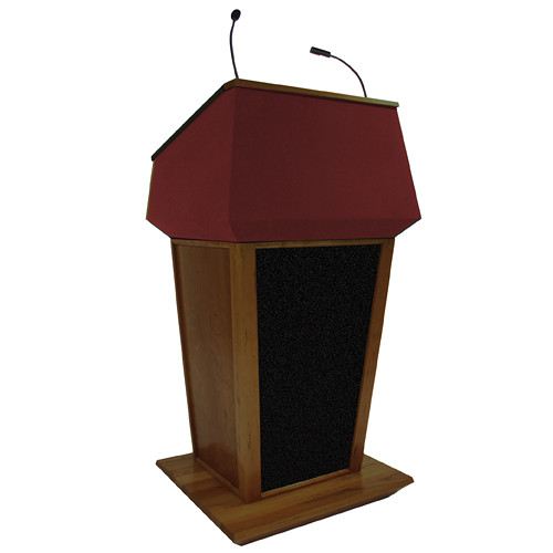AmpliVox Sound Systems Patriot Plus Lectern with Sound System (Walnut with Red Canvas Accent)
