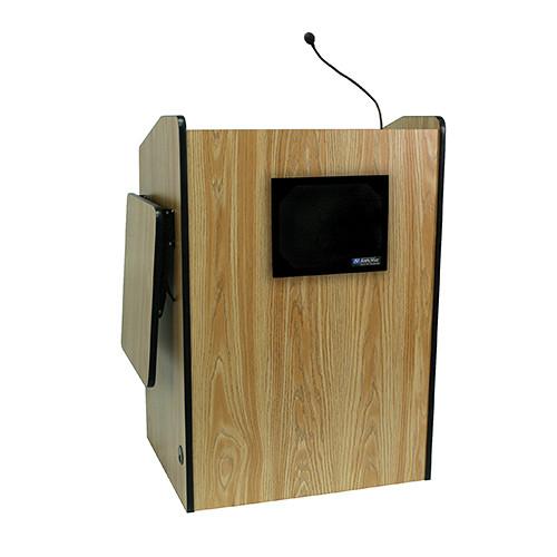 AmpliVox Sound Systems Multimedia Presentation Podium with Sound System (Medium Oak)