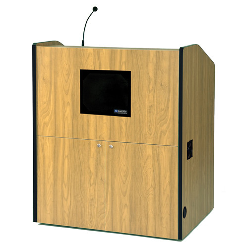AmpliVox Sound Systems Multimedia Presentation Podium with Sound System (Maple)