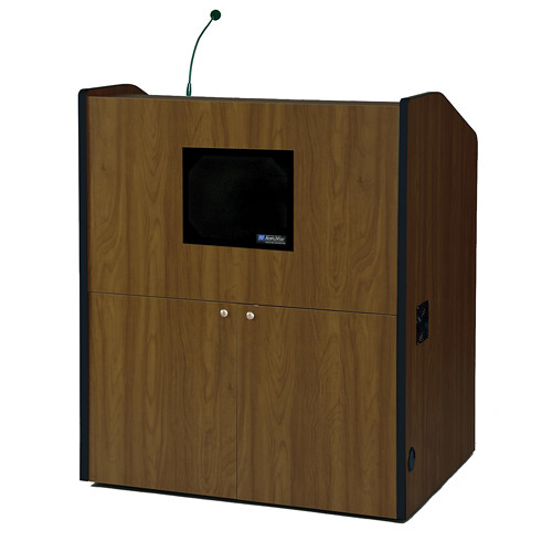 AmpliVox Sound Systems Multimedia Presentation Podium with Sound System (Walnut)