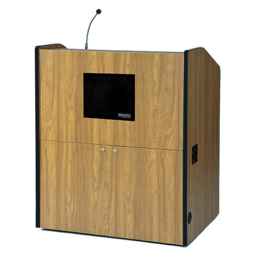 AmpliVox Sound Systems Multimedia Smart Podium with Sound System (Medium Oak)