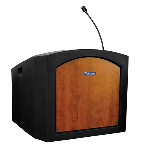 AmpliVox Sound Systems Pinnacle Tabletop Lectern with Mic (Medium Oak)