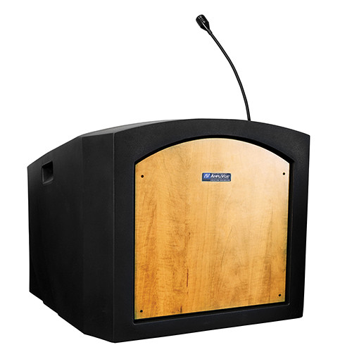 AmpliVox Sound Systems Pinnacle Tabletop Lectern with Mic (Maple)
