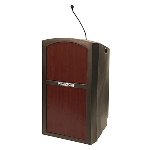 AmpliVox Sound Systems Pinnacle Multimedia Lectern with Mic (Mahogany)