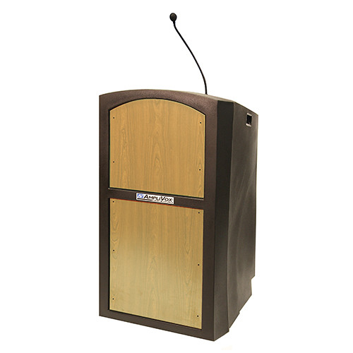 AmpliVox Sound Systems Pinnacle Multimedia Lectern with Mic (Maple)