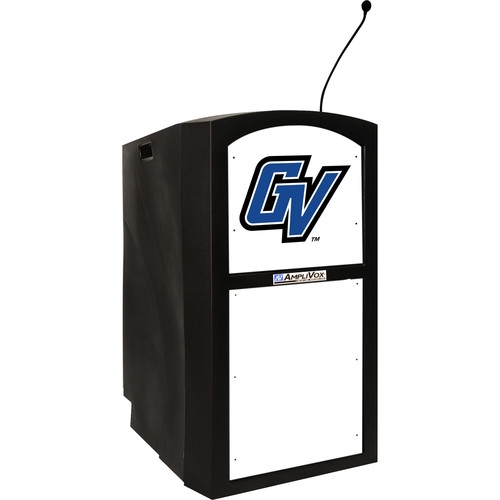 AmpliVox Sound Systems Non-Amplified Collegiate Multimedia Lectern with Custom Insert and Dashboard Kit (Black)