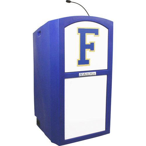 AmpliVox Sound Systems Non-Amplified Collegiate Multimedia Lectern with Custom Insert and Dashboard Kit (Custom Color)