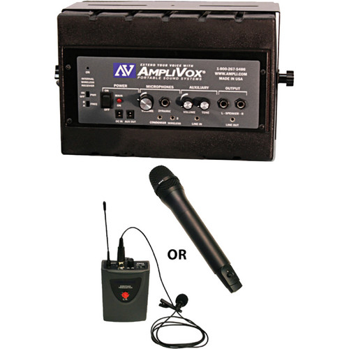 AmpliVox Sound Systems SW1230 Mity Box 50-Watt Powered Speaker with Wireless Receiver, Headset and Lavalier Mics