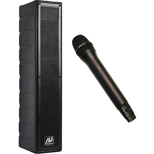 AmpliVox Sound Systems SW1234 50-Watt Powered Line Array Speaker with Wireless Receiver, Handheld Mic, and Rackmount Kit