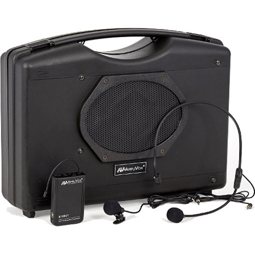 AmpliVox Sound Systems SW222A Portable Bluetooth and Wireless Enabled PA System with Headset and Lapel Microphones