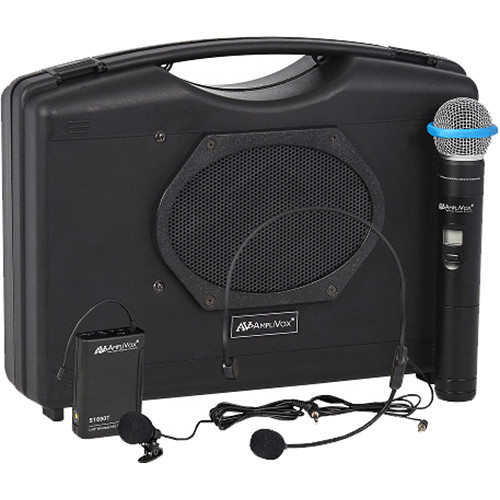 AmpliVox Sound Systems SW224A Dual Wireless Audio Portable Speaker with Wireless Handheld Mic, Headset and Lapel Mics, and Bodypack Transmitter