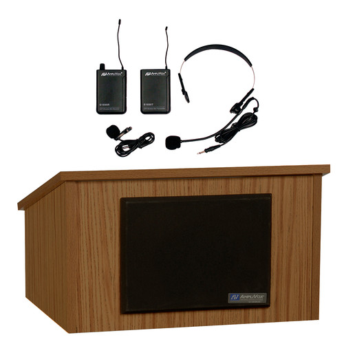 AmpliVox Sound Systems Tabletop Lectern and Multimedia Utility Cart Base with Sound System and Wireless 16 Channel UHF Lapel and Headset Mic Kit (Medium Oak Laminate)